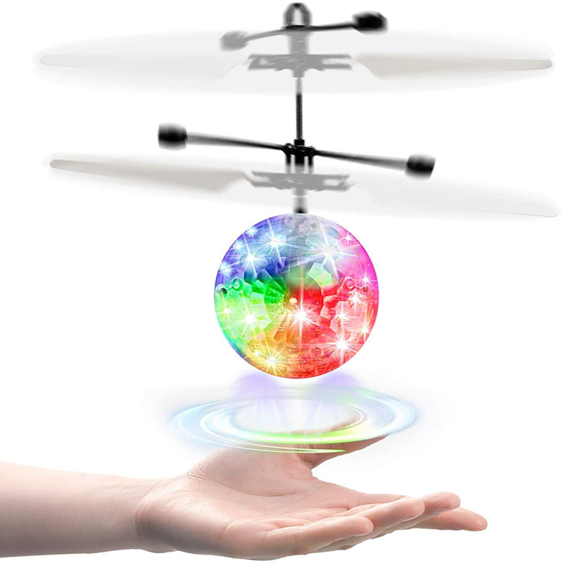 KIZPLAYS Flying Ball with Remote Control, LED Luminous Helicopter, Safe Palm Drone Infrared Sensor, Indoor and Outdoor, Family and Boys and Girls Toys
