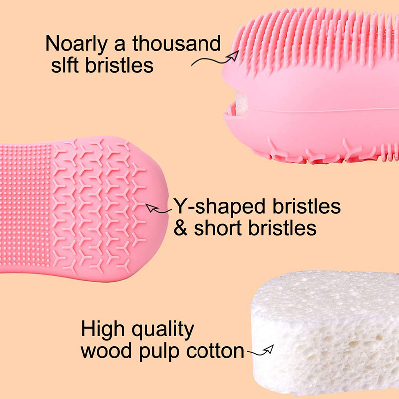 Silicone Body Scrubber (2 Pack),Silicone Bath Body Brush for Women Men Kids Baby, Super Soft Massage Exfoliating Bath Brush Scrubber for Deep Cleaning,Double-sided Shower Loofah with Wood Pulp Cotton