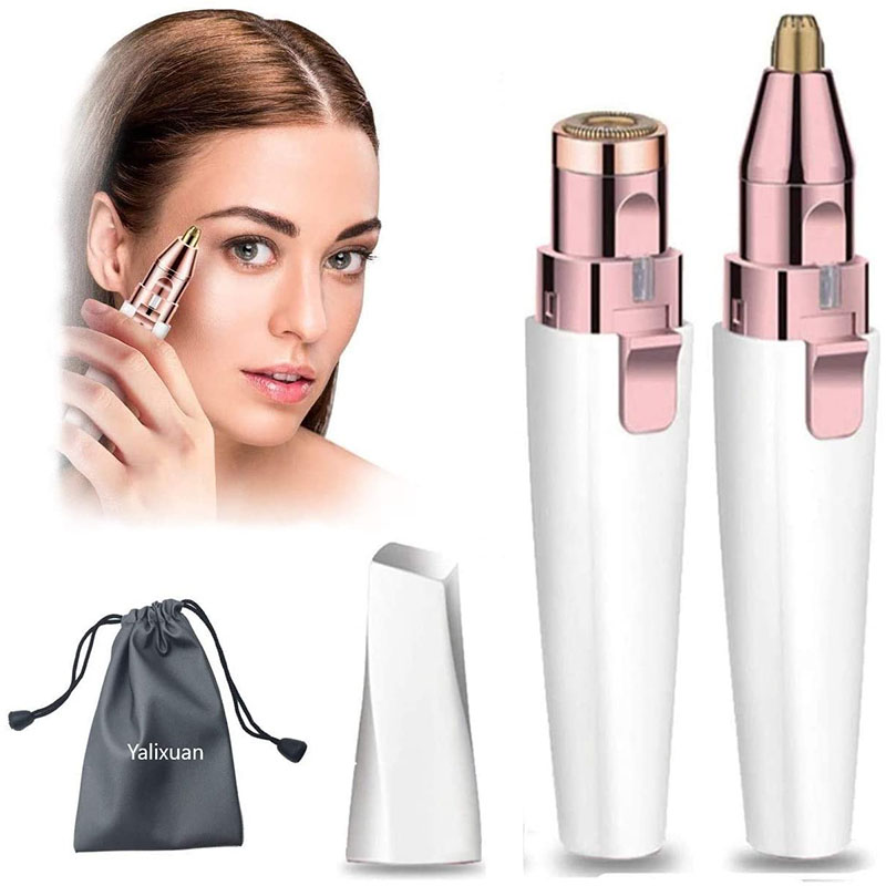 Eyebrow Trimmer & Facial Hair Remover for Women, Replaceable 2 in 1 Eyebrow Razor and Rechargeable Painless Eyebrow Shaper, Eyebrow Lips Nose Body Facial Hair Removal for Women with Built-in LED Light