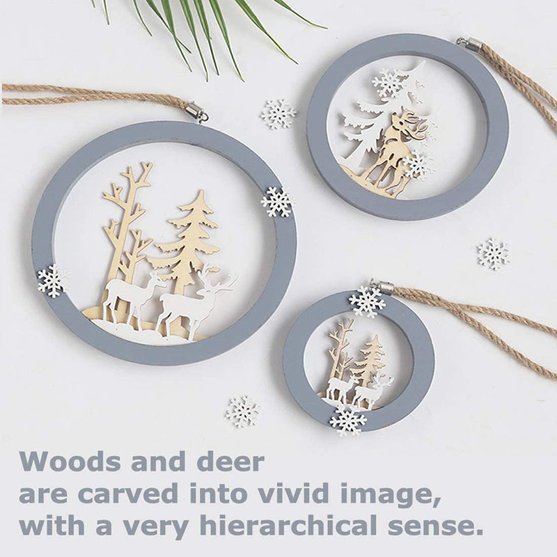 IJMIO Wall Hanging Decor Wooden for Living Room Bedroom, Elk Hanging Ornaments for Modern Wall Decoration Pediment Small