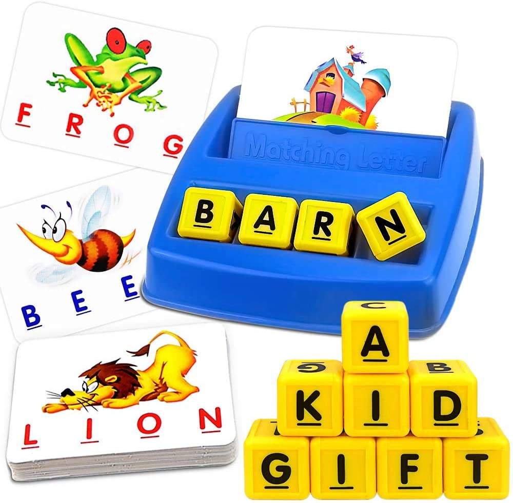 JONEG Matching Letter Game, Kindergarten Preschool Educational Learning Toys, Spelling Games for Kids and Reading Game, Age 2 3 4 5 6 7 8 Year Old Girls & Boys, Best Xmas Gift
