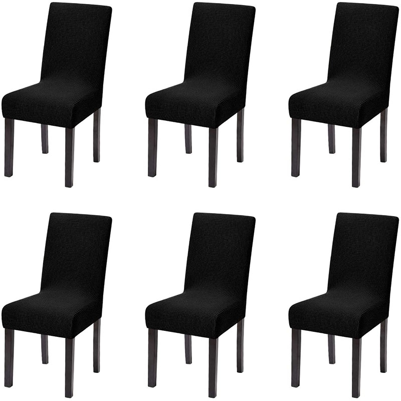 Chair Covers for Dining Room Set of 6, Stretch Chair Covers Parsons Chair Slipcover Chair Covers for Dining Room Set of 6, Black