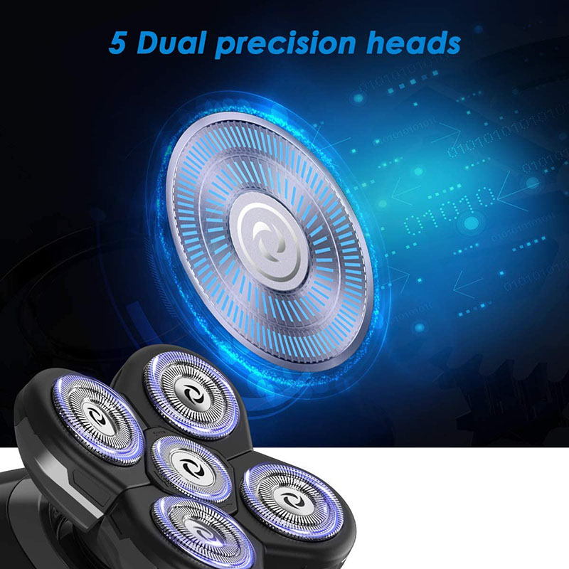 Electric Shavers for Men Bald Head Shaver LED Display 5-in-1 Faster-Charging 5D Floating Waterproof Electric Rotary Shaver with Clipper Nose Hair Facial Clean Waterproof