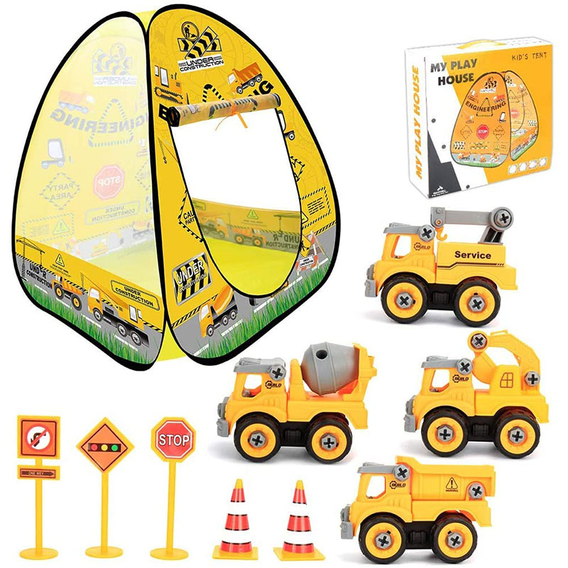 Kids Camping Tent Set,Pop Up Play Tent with Construction Truck Toys Pretend Play Set for Toddlers Kids Boys Girls for Indoor and Outdoor,Educational Toys for Kids