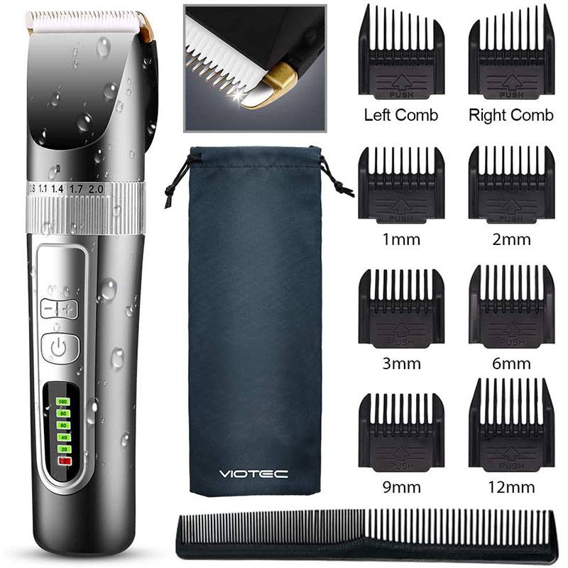 CCHOME Professional Hair Clippers, Rechargeable Cordless Clippers Hair Trimmer Beard Shaver Electric Haircut Kit Waterproof LED Display for Men and Family Use