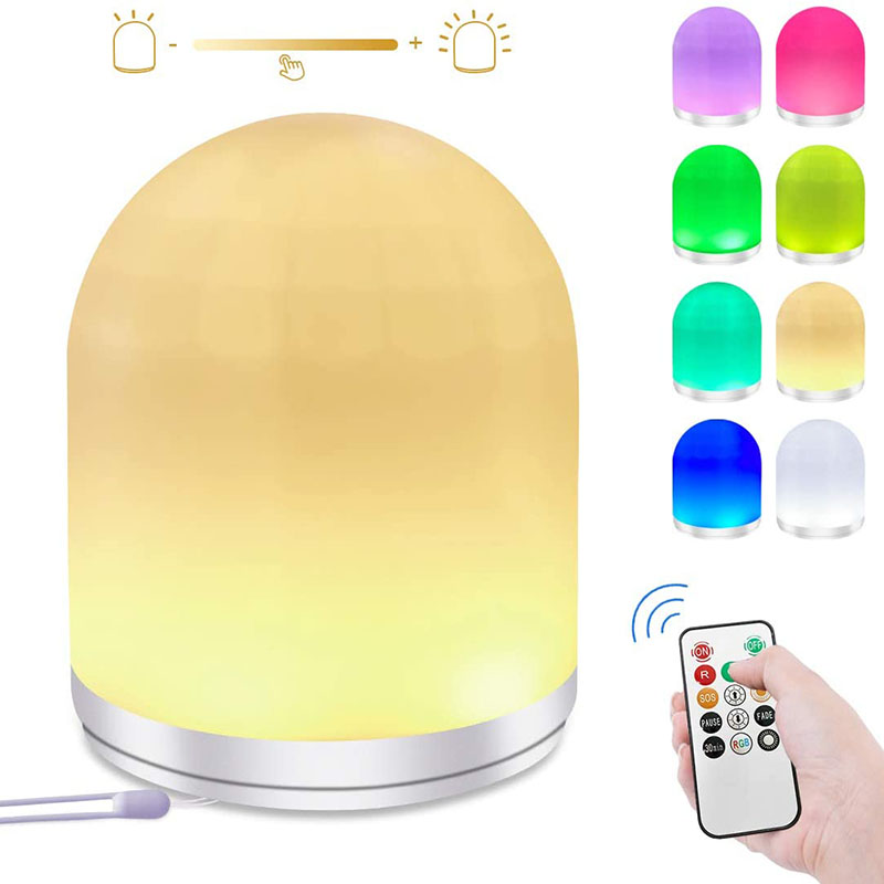 Nursery Night Light for Kids Button and Remote Control, LED Dimmable Bedside Lamp RGB Color Changing, USB Rechargeable Baby Night Light 30mins Timer, Suitable for Breastfeeding, Baby Care, Bedroom