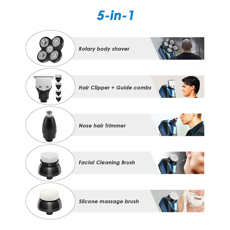 HTQ 5 in 1 Electric Shavers for Men Head Shaver for Bald men with IPX6 Waterproof Fast Charging LCD Display Electric Shaver Kit with Beard &Nose Hair Trimmer Hair Clipper Facial Cleaning Brush