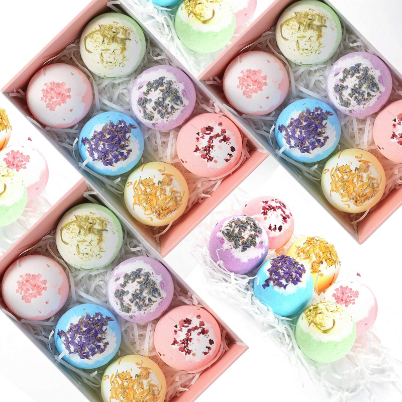 Natural Bath Bombs Gift Set Dry Skin Moisturize , Bubble & Spa Bath Bombs for Women Relaxing Prefect Gifts for Birthday Christmas Valentines Day Gifts for Her